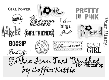 Girlie Icon Text Brushes